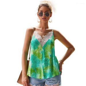 Summer Lace Print Womens Tanks V Neck Sling Vest Sexy Strapless Tie Dye Tshirt Ladies Designer Tank Tops