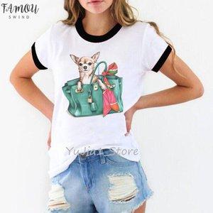 Cute Chihuahua In Bag Print Women Shirt Dog Lover Clothes Tee Shirt Femme Kawaii T Shirt White Female T Diy Custom