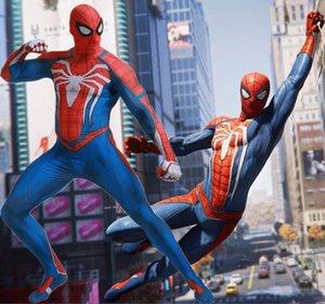 Insomniac Jeux PS4 Spiderman Cosplay Costume 3D Film Original Costume Superhero Costume SuperMan Corps Zentai Suit Hood Séparé