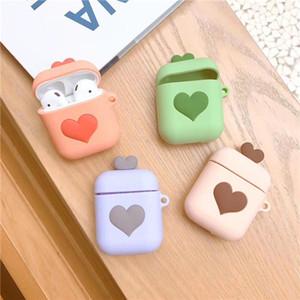 Para a apple airpods capa protetora silicone case bolsa coração anti-lost strap poeira plug para iphone 8 plus fone de ouvido bluetooth