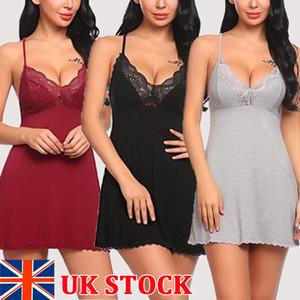 Senhoras das mulheres Sexy Verão Nightgowns Lace Floral Profundo V Lingerie Sleepwear Algodão Feminino Curto Mini Vestido Robe Nightie Vestido