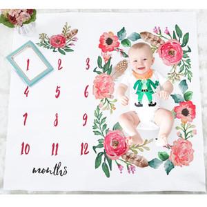 Новорожденный Ежемесячный Одеяло Юбилейной Моды Младенческая Фотография Фотография Реквизит Цветочный Принт Фотосъемка Рост Одеяние Памятное