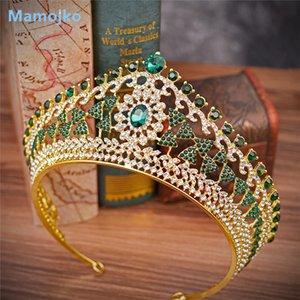 Mamojko Большого барокко Урожай зеленый Royal Blue Crystal Queen Crown Gold Люкс оголовье Конкурс красота Свадебные Tiara для женщин