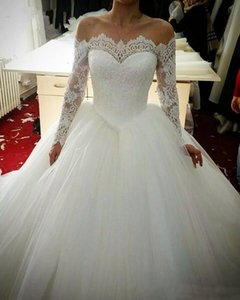 Ball Gown Wedding Dresses Long Sleeves Lace Appliques Off Shoulder Lace Up Back Vestidos De Noiva Wedding Bridal Gowns Custom Made Wed Dress