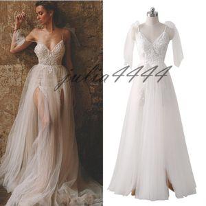 Bobo sin mangas See Through Wedding Dresses Sexy Backless Lace Tulle Vestidos de novia Robe De Mariage 2019 Nueva llegada