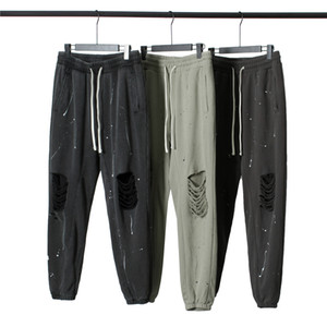 Проблемные Черная Сломанные Sweatpants Краска Splatter Jogger брюки осень Мужчины Уличная