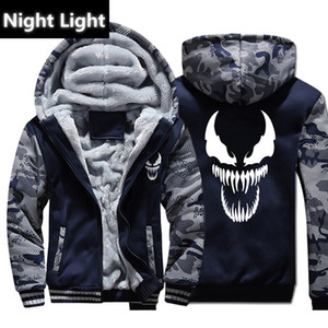 Venom Hoodies Men Movie Night Light Sudaderas con capucha Harajuku Abrigo de invierno Chaqueta de lana gruesa Cool Noctilucent Streetwear
