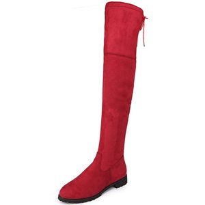 2019 women's boots autumn and winter new over the knee boots sleek minimalist comfort plus cotton flat Flock boots Size 34-43