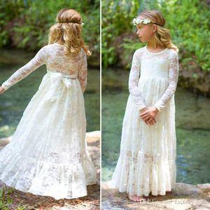 Elfenbein einer Linie Spitze-Blumen-Mädchen kleiden Jewel Ausschnitt Prinzessin mit langen Ärmeln Kind-Mädchen-formale Abend-Partei trägt Kleider