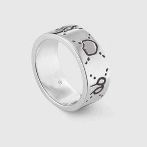 Moda 925 gümüş kafatası yüzük moisanit Anelli bague kutusu ile erkek ve kadınlar Parti Düğün nişan takı severler hediye