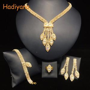 HADIYANA 4pcs conjuntos Sparkling de cristal casamento nupcial Shinning Jóias Acessório Bride Party For Data rainha presente BN5766