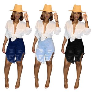 Women Hole Jeans Ripped Knee Length Denim Pants in 3 Colors Skinny Summer Stylish Jeans Shorts Distressed Vintage Jeans