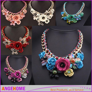 Wholesale-HOT SALE Costume luxury Jewelry fashion women Necklace Bohemia clavicle Necklaces Flowers Gemstone Pendant Necklaces free shipping