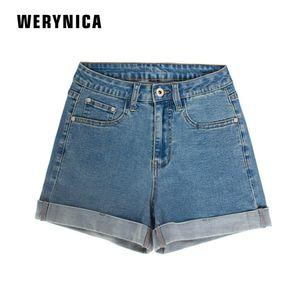 Werynica europa azul pantalones cortos de mezclilla para las mujeres 2019 verano nueva marca de moda delgado ocasional más el tamaño para mujer pantalones cortos de cintura alta