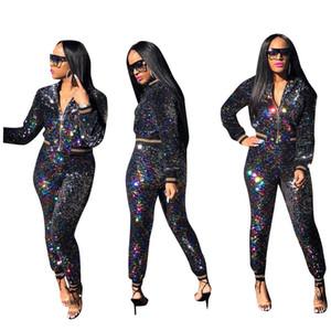 Donne Zipper Sportwear Ladies Bling Bling Gradient Tuta Cappotto Giacca manica lunga Pullover con cappuccio da party Outwear Jacket Pants best