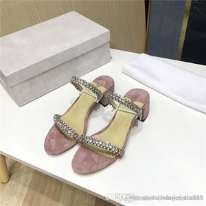 Summer black pink crystal sandals full star pink crystal low-heeled leather sandals for women 4 cm high With box size 35-39cm