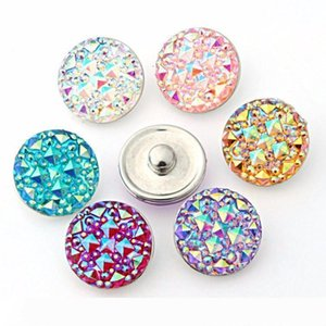 A 50pcs lot high quality Seven color Round resin ginger snaps Round glass snaps Bracelets fit 18mm snaps buttons jewelry
