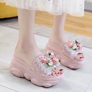 Lucyever 2020 verano plataforma zapatillas cuña mujeres playa zapatos señoras moda cristal flor sandalias plataforma Casual Zapatos Mujer