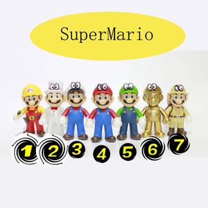 2019 새로운 진짜 SuperMario Bros 숫자 놀이 SuperMario PVC 장난감 인형 최고 Mario 버섯 인형 Mario 형제 루이 인형 7styles C2