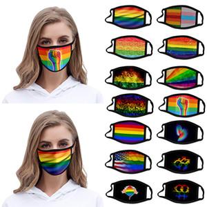 LGBT Gay 3D Masque de conception Masque d'impression couleur anti-poussière lavable en tissu soie polyester glace Masque XD23598