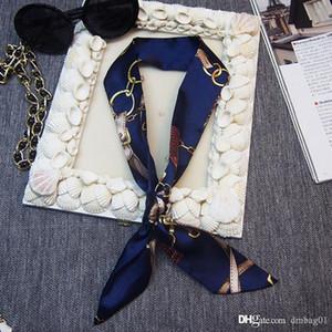 Bandanas versão do Ladies Scarf Impressão Silk lenço amarrado Bag Handle Pequeno fita Lenço Lenço muitas cores escolhem
