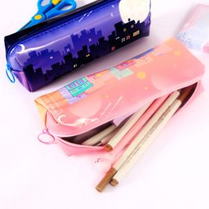 New PU Reflectives Student Stationery Box City Style Pencil Case Fashionable DIY Student Pencil Bag Large Capacity Storage bag