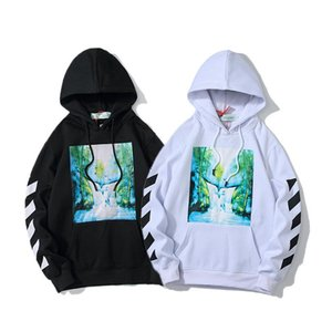 European and American tide clothes autumn OFF waterfall oil painting white couple loose OW hooded plus velvet sweater men and women