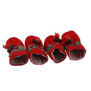 Nuevos perros para mascotas Zapatos de invierno Lluvia Nieve Botines impermeables Calcetines antideslizantes de goma para perros pequeños Cachorro Calzado