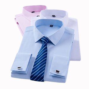 Française classique Cuff formelles pour hommes Chemises à manches longues No smoking de poche Homme Chemise avec boutons de manchette