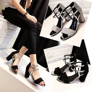 Current2019 Woman Sandals Xia Zhonggen Rome Joker One Buckle High-heeled Coarse With Fish Mouth Shoes