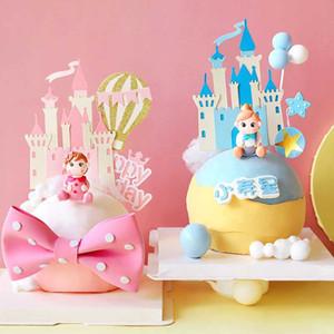 성 풍선 별 작은 공주 소녀의 생일 케이크 토퍼 공주 키즈 파티 핑크 사랑의 선물 용품