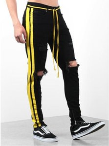 Jeans Holes Designer Respresent Striped Long Pencil Pants Pantalones Men Black Ripped