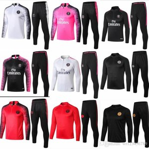 PSG pinker Trainingsanzug Marseille Paris Fußball Trainingsanzug Real Madrid Trainingsanzüge 2018 2019 MBAPPE LUCAS Lederjacke-Set