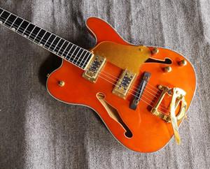 Пользовательские Оптовая оранжевой TL Hollow Body F Отверстие Ebony Накладка Golden Guitar Bridge Electric