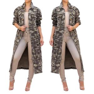 2018 winter standard code female long coat windbreaker European and American fashion sexy camouflage long-sleeved large size women's coat