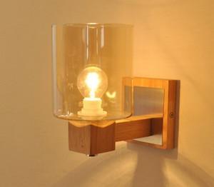 홈 로프트 거실 장식 LLFA에 대한 벽 조명 간단한 벽 보루 빛 옆에 레트로 LED 나무 벽 램프 유리 그늘 베드룸