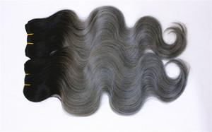 1В / Темно-серый бразильские тела Волновые волос Extensions 3 или 4 пачки 100% девственницы человеческих волос ткет 10-18inch