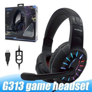 G313 Gaming Headset Over-Ear Gaming Wired Tws Earphones Redução Stereo Noise com Mic RGB Luz para PC tablet com Retail Box