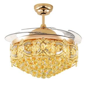 42 Inç Uzaktan Kumanda ile Kristal Avize Tavan Fanı Işık Modern Oturma Odası Fan Tavan Işıkları Fikstür Akrilik Yaprak Led işık