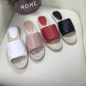 2019 Sandalia de lujo Nuevas mujeres Sandalia de alpargata de cuero Zapatos de plataforma de diseñador Lady Straw Cord Zapatilla de lujo con el doble metal de gran tamaño