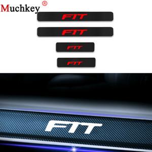 4Pcs Car Door Sill Scuff Plate per Honda Fit Door Threshold Guard 4D in fibra di carbonio adesivo in vinile Protector Car Sticker Auto parte