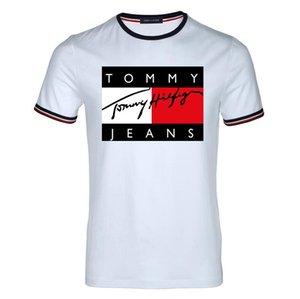 الرجال الملابس الصيفية رجل T-قمصان تومي الأزياء رسائل مطبوعة المحملة كول القمم بأكمام قصيرة الرقبة الطاقم تيز الرجل المرأة أبيض أسود