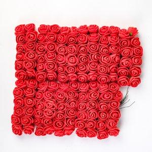 144pcs 2cm Mini Foam Rose Artificial Flower Bouquet Multicolor Rose Wedding Flower Decoration Scrapbooking Fake Rose Flower
