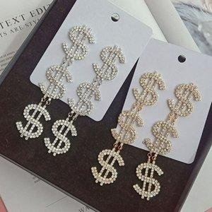 Mulheres dólar Brinco de Ouro Prata Rhinestone longa borla jóias brinco presente para a amiga amor de alta qualidade