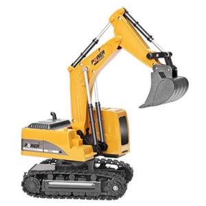 2.4Ghz 6 canais de liga 01:24 RC brinquedo escavadeira RC engenharia carro e escavadeira RTR plástico para crianças de presente de Natal