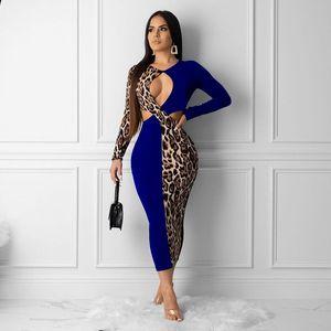 Al por mayor-Haoyuan más el tamaño de empalme partido del club de noche atractivo del leopardo de las mujeres caen ropa de vestir Vestidos de Midi de Bodycon de la vendimia de manga larga