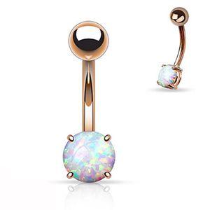 Showlove-1pc Bouton Rose d'or Prong Set Opal Gem Navel Belly Anneaux Bar Piercing Bijoux Body Charme 14G