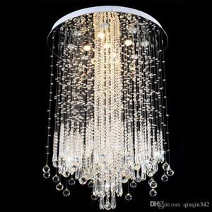 DHL 2020 Modern LED Vanity Crystal Chandelier Light Ceiling Fixture Long Stair for Living Room Large Luxury Hotel Hall Foyer Lamp