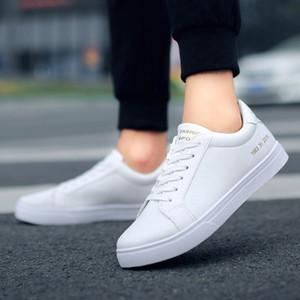 2019 Nova Primavera Tenis Feminino Lace plano Branco Sapatos Mulher PU de couro sólidos Shoes Cor Feminino Casual Shoes Sneakers # 3