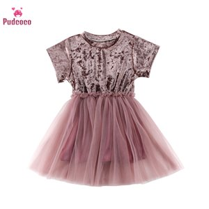 Pudcoco Summer Pink Dresses Ball Gown Tutu Girls Dress Short Sleeve Clothing O Neck Princess Girl Costume For Birthday Wedding